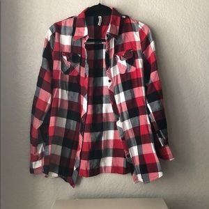 Black, red and white flannel top
